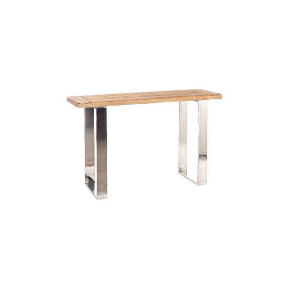 Console Rectangular,  Wood / Metal, Natural / Silver, 120x36x76CM