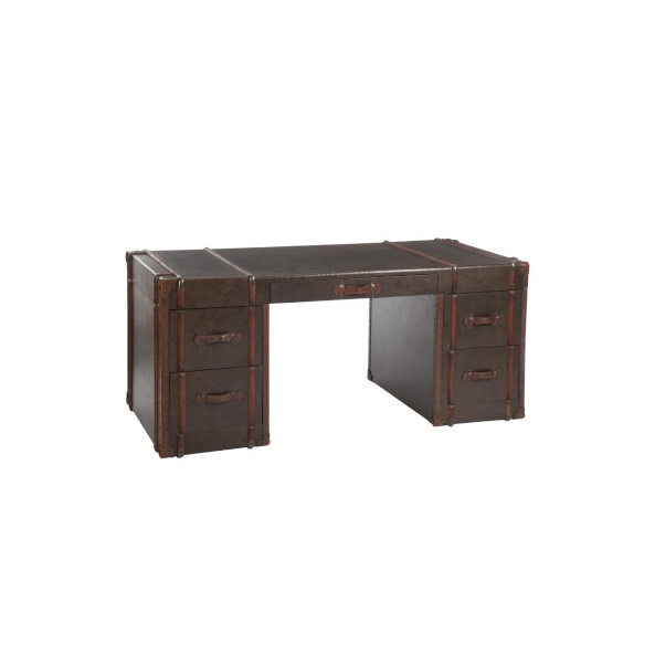 Desk 5 Drawer, Wood / PU Brown, 182x82x80CM