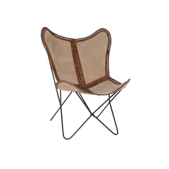 Lounge Chair, Canvas / Leather, Beige / Brown