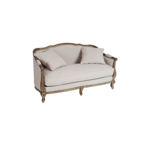 Sofa & Cushion Bergere 2 Persons, Oak, Beige