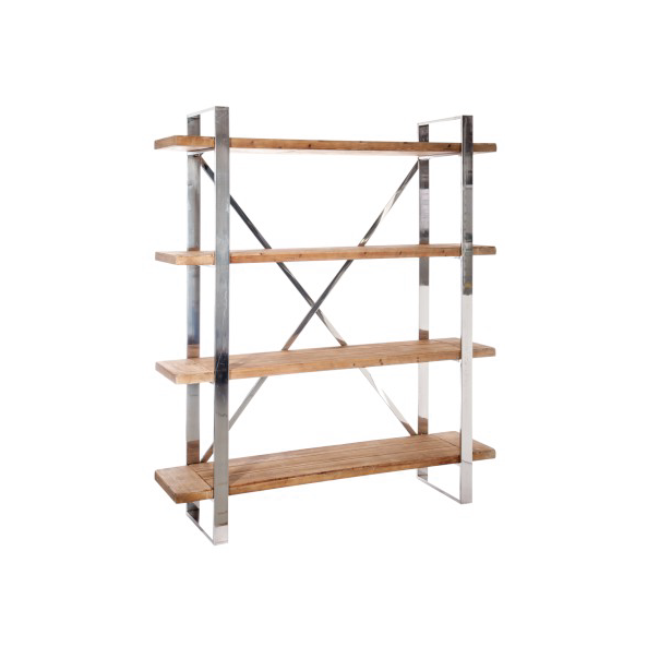 Rack 4 Shelves Cross, Wood / Metal, Natural / Silver, 150x40x180CM