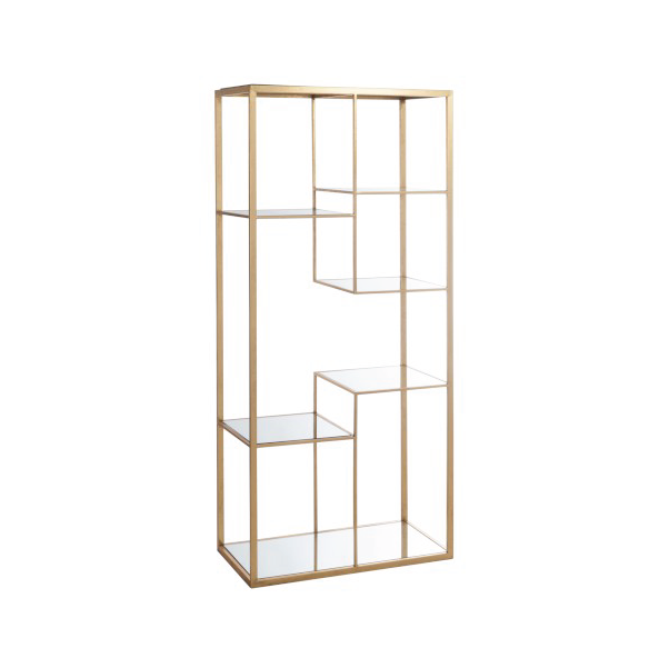 Rack 4 Shelves, Metal / Glass, Gold