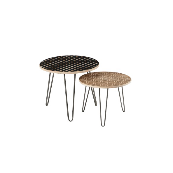 Set of 2 Side Tables, Wood / Metal, Natural / Black
