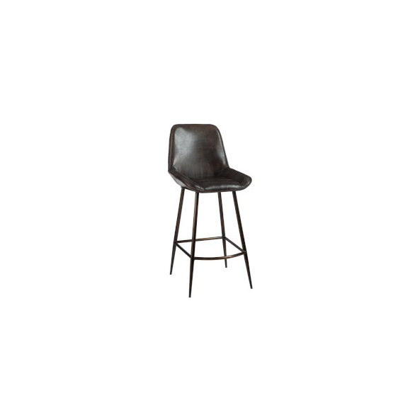 Bar Chair Leather / Metal, Dark Brown