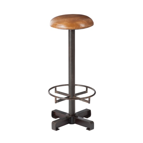 Bar Stool Metal / Leather, Cognac / Black