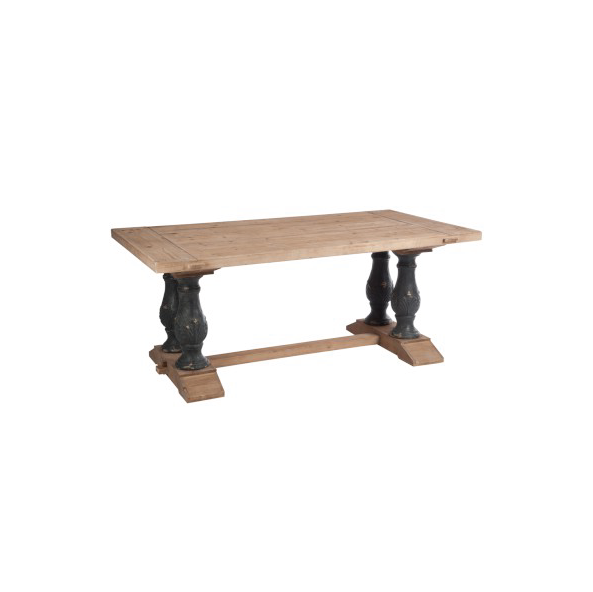 Table Rectangular Bar, Wood, Natural / ANT, Black, 180x100x77CM