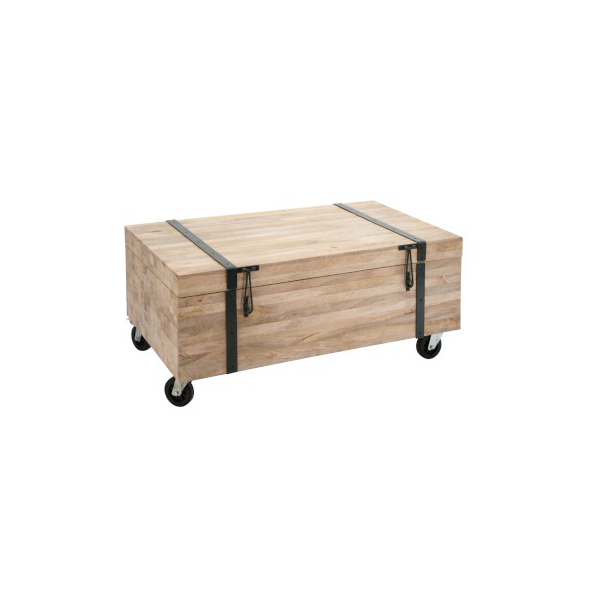 Rectangular Trunk on Wheels, Wood, Natural, 110x60x48CM