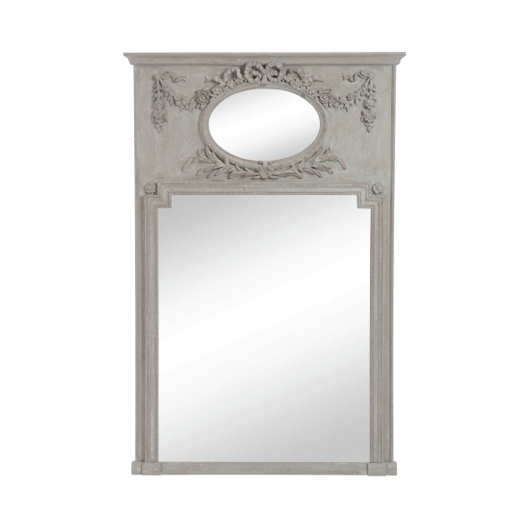 Oval & Rectangular Mirror, Flower, Wood, Antique Taupe, 106x160CM