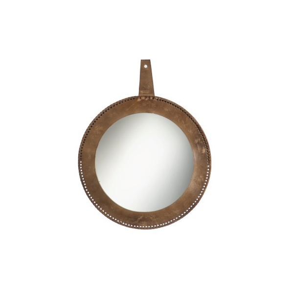 Round Mirror, Leather Cognac