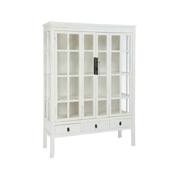 Display Closet, 3 Shelf & 3 Drawer, Wood / Glass, White, 130x45x175CM (also available in Natural)
