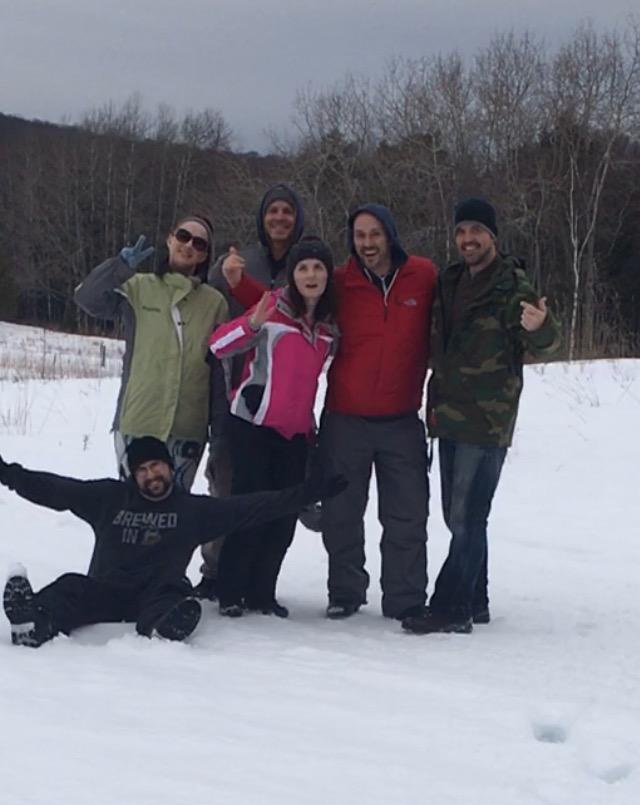 Jason, Jennifer, Roy, Lucy, Tim, and Me. Finishing our trek thru the woods.