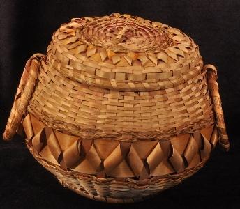 Black ash and sweetgrass basket