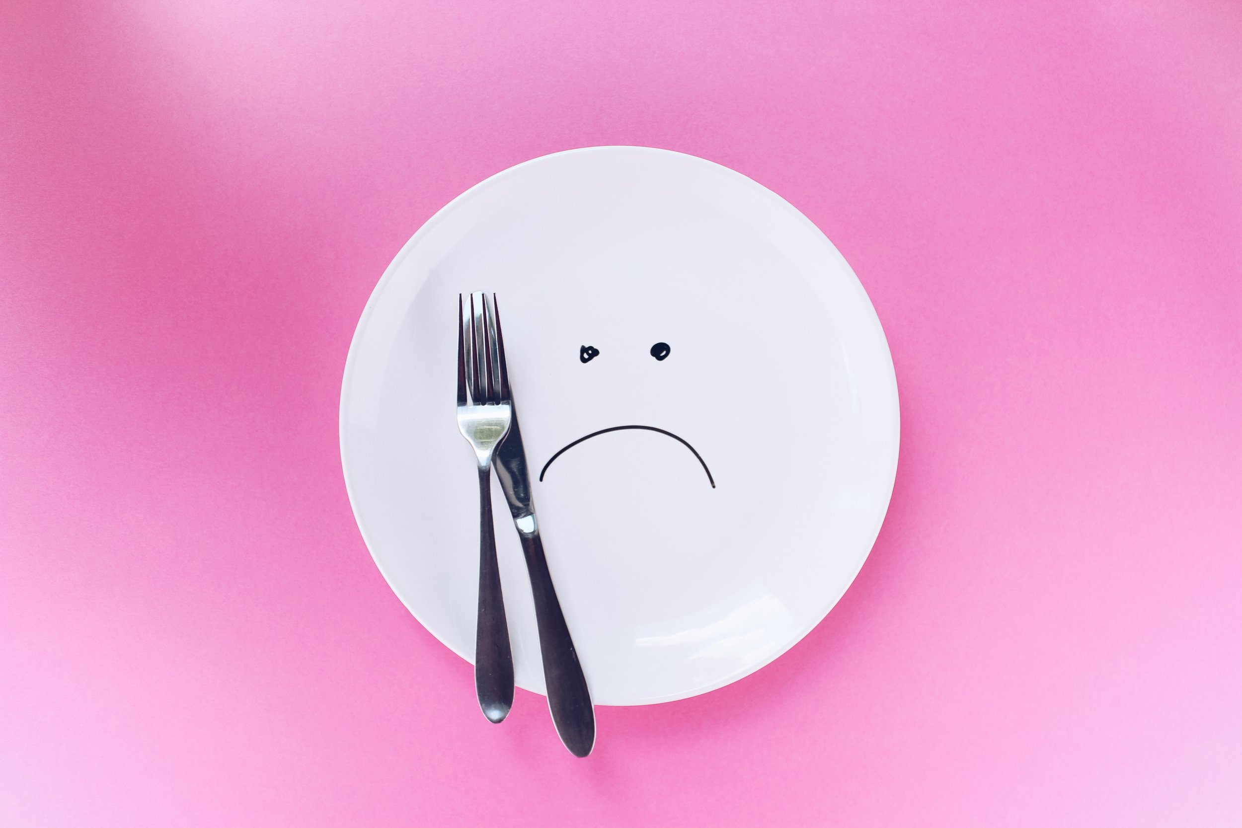 Picture of an empty plate with an unhappy face, symbolising a disordered relationship with food
