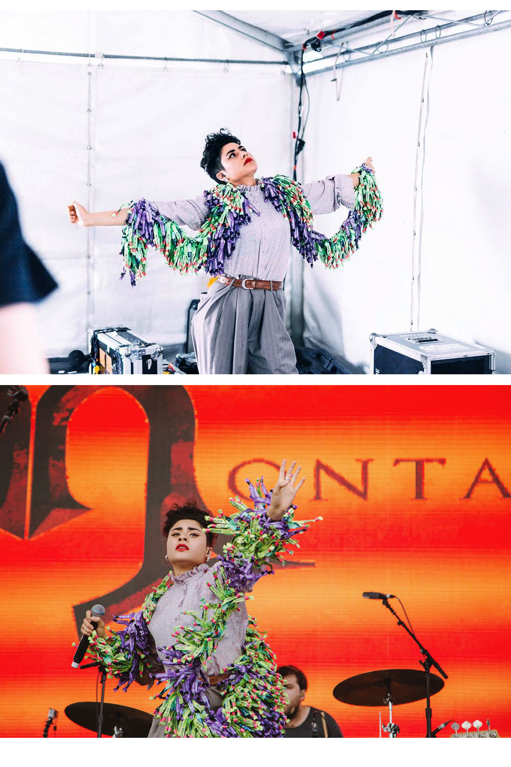 Wristband Throw, Groovin' the Moo festival wristbands knotted together. Worn by Montaigne at Groovin' the Moo 2017.