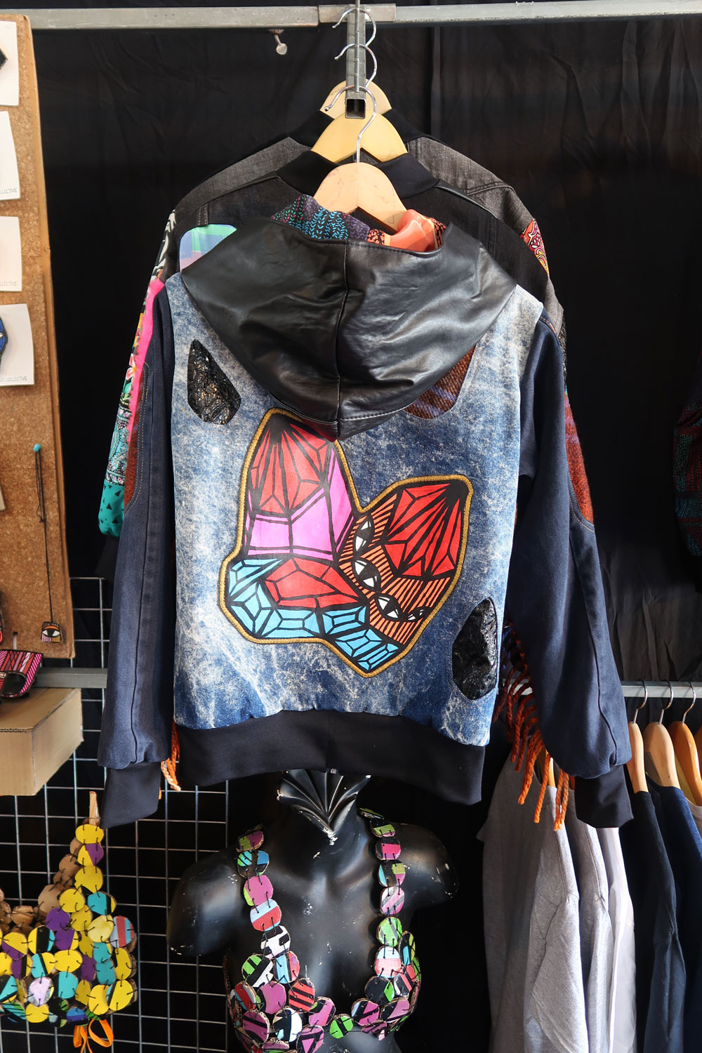 Collaboration: Spunky Bruiser Bomber Jacket with my hand painted denim patch. Made for Splendour in the Grass 2017