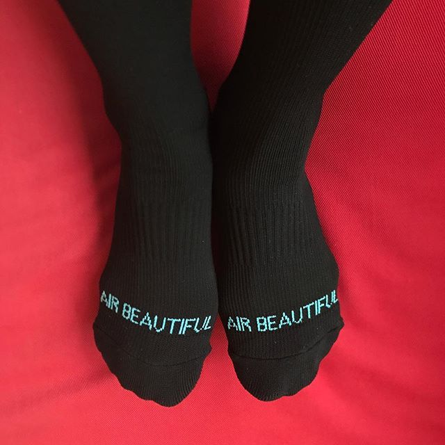 This is a prototype of AIR BEAUTIFUL compression socks for traveling 😍😍😍. It is a must to wear compression socks on the airplane to help prevent from getting tired feet, swelling, and Deep Venous Thrombosis (DVT). Compression is 20-22mmHg. So far, I feel great.  I can't wait to share this with you because I care about your well-being.  #lifeisbeautiful #travelwellness #travel #traveltips #selfcaretips