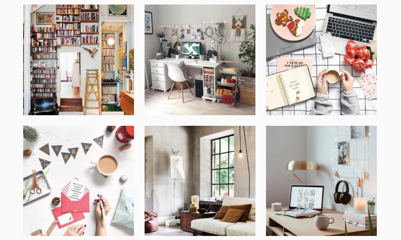 Posts you'll find when you type #workspacegoals in Instagram's search bar.