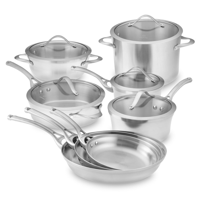 """1. Stainless Steel Cookware Set  In my opinion, Calphalon is the best brand to buy in this department. However, that wasn't in our budget after buying our dream home so I decided on this  middle-ground set. There are a lot of quality sets out there,an all-stainless look is classic +won't need to be """"updated"""" when styles change. With stainless steel, you won't worry about the chemicals that come with using non-stick +the set will stand the test of time!"""
