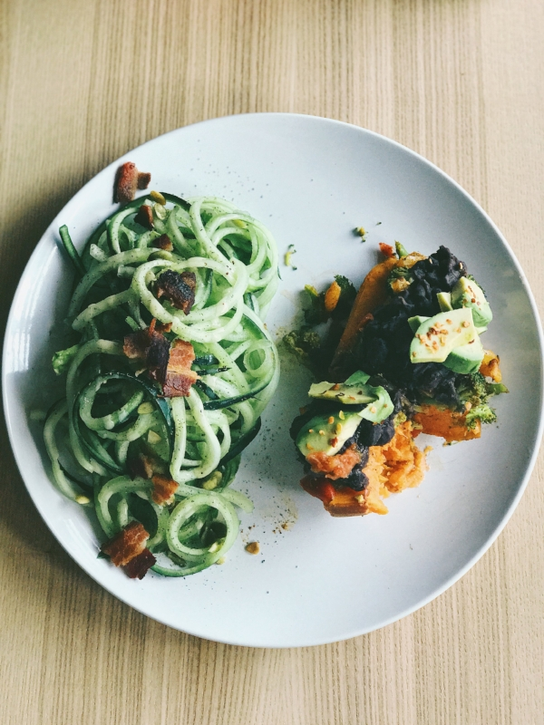 Cucumber bacon salad