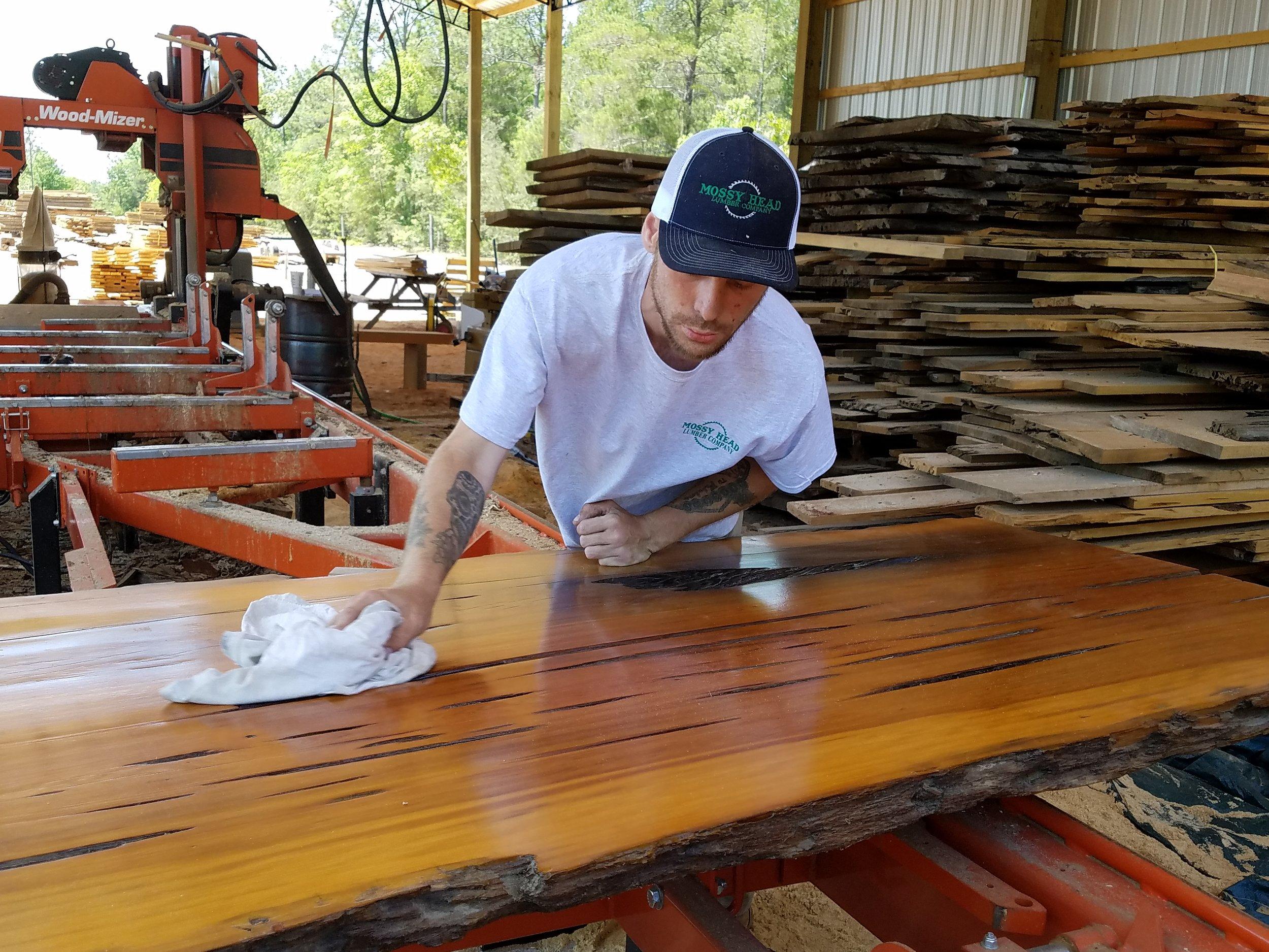 Reclaimed Sinker Pecky Cypress Slab