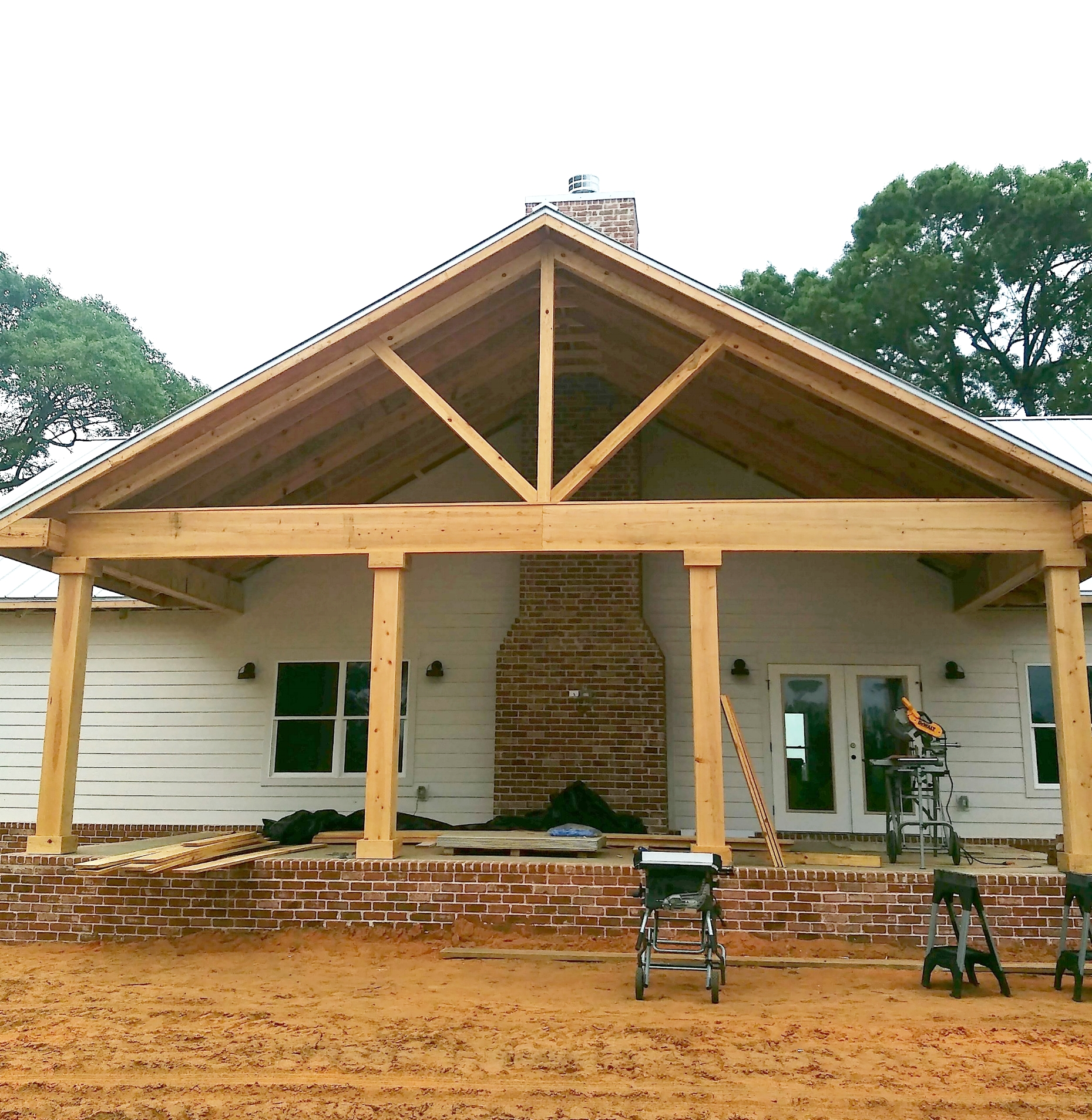 Cypress beams used on front porch
