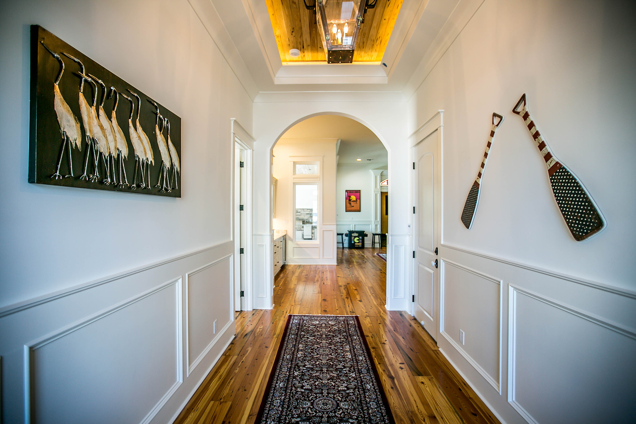 Custom home with reclaimed wood flooring