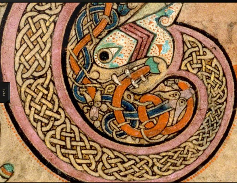 Book of Kells detail. Irish manuscript circa 800 A. D.