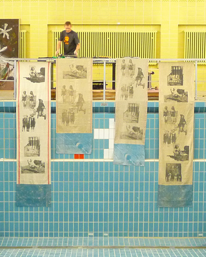 """Terrell James - """"Save Berlin"""" (Pool 2009)  Stadtbad Wedding, Berlin, Germany Silkscreen on vintage hand-loomed linen Two: 39 x 118 inches; Two: 39 x 79 inches"""