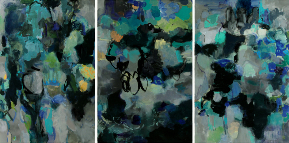 Theater, 2010  Oil on canvas  Three canvases. Each:  60 x 40 inches
