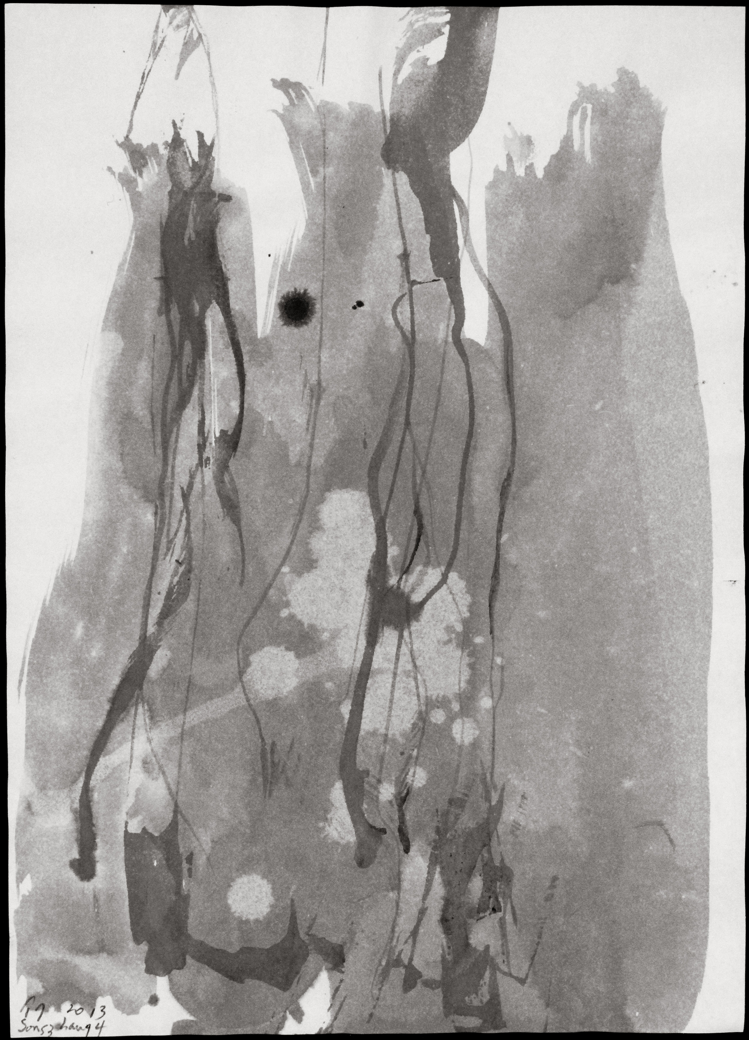Songzhuang 4, 2013, Ink on Rice Paper, 21 in x 16 in