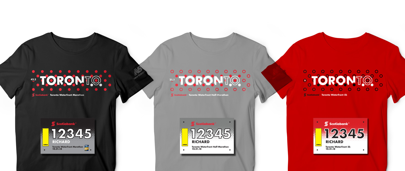 Marathon, Half Marathon and 5k Scotiabank Toronto Waterfront Marathon race shirts and bibs