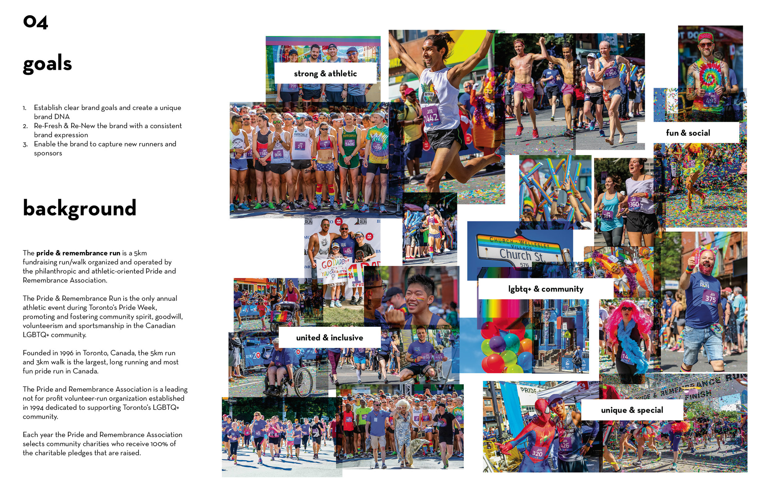 A page from the pride & remembrance run Brand Brief