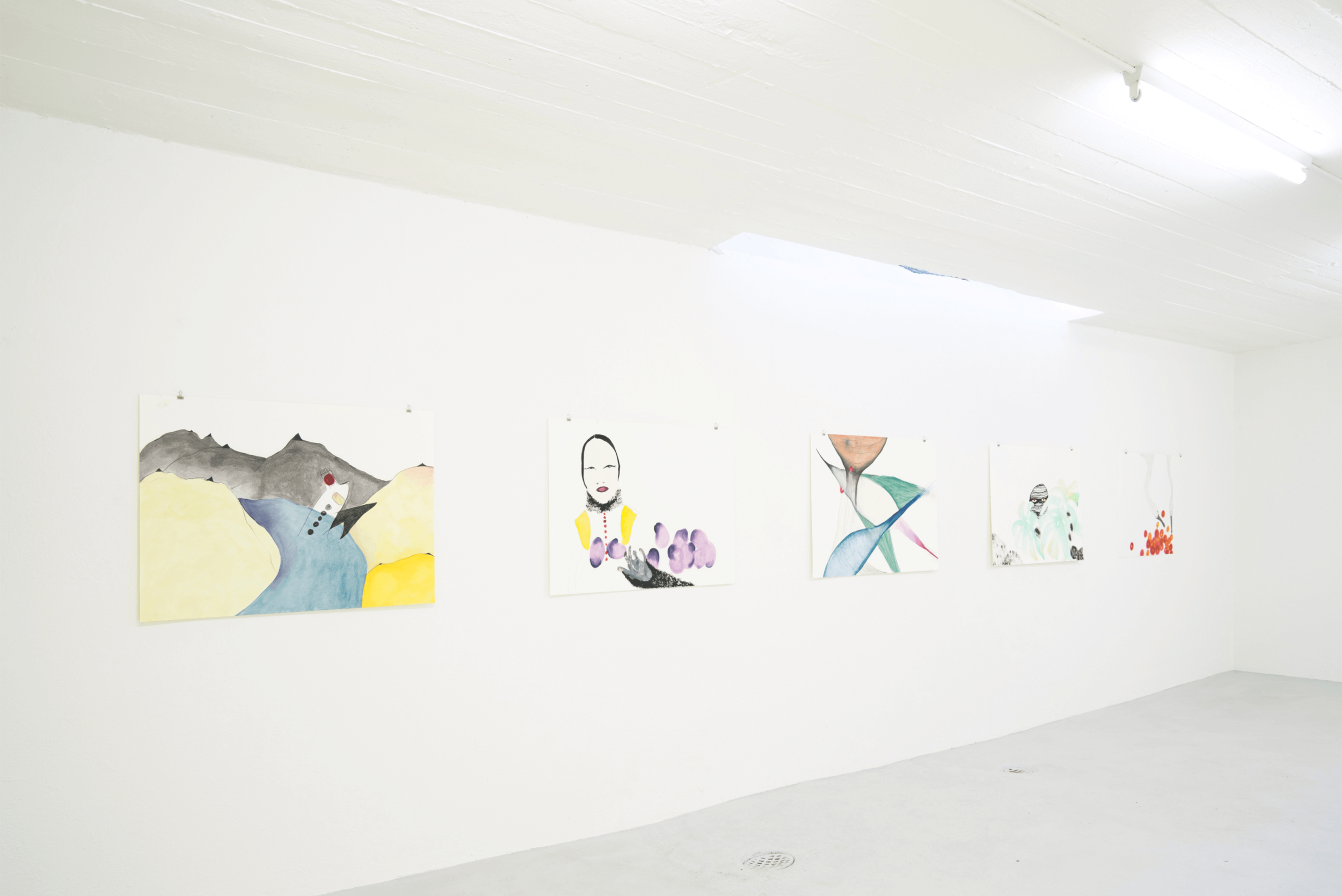 Ausstellungsansicht im LOKAL 14  v.l.n.r. « mysterious », « fukushima girl », « only these virgins », « hands up», « twin swans » 2016/2017je 70 x 100 cm