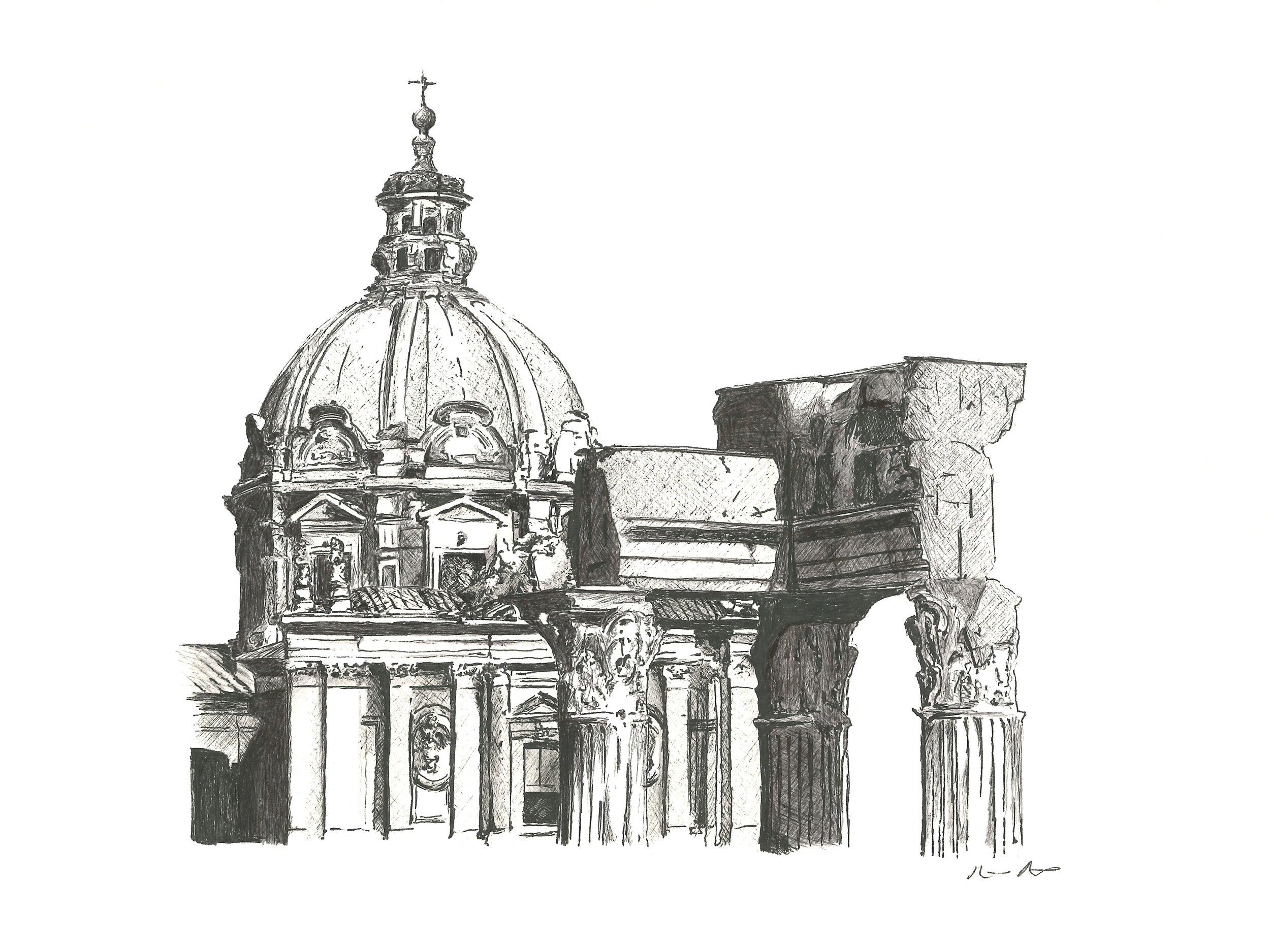 Roman forum - 12'' x 9''$350