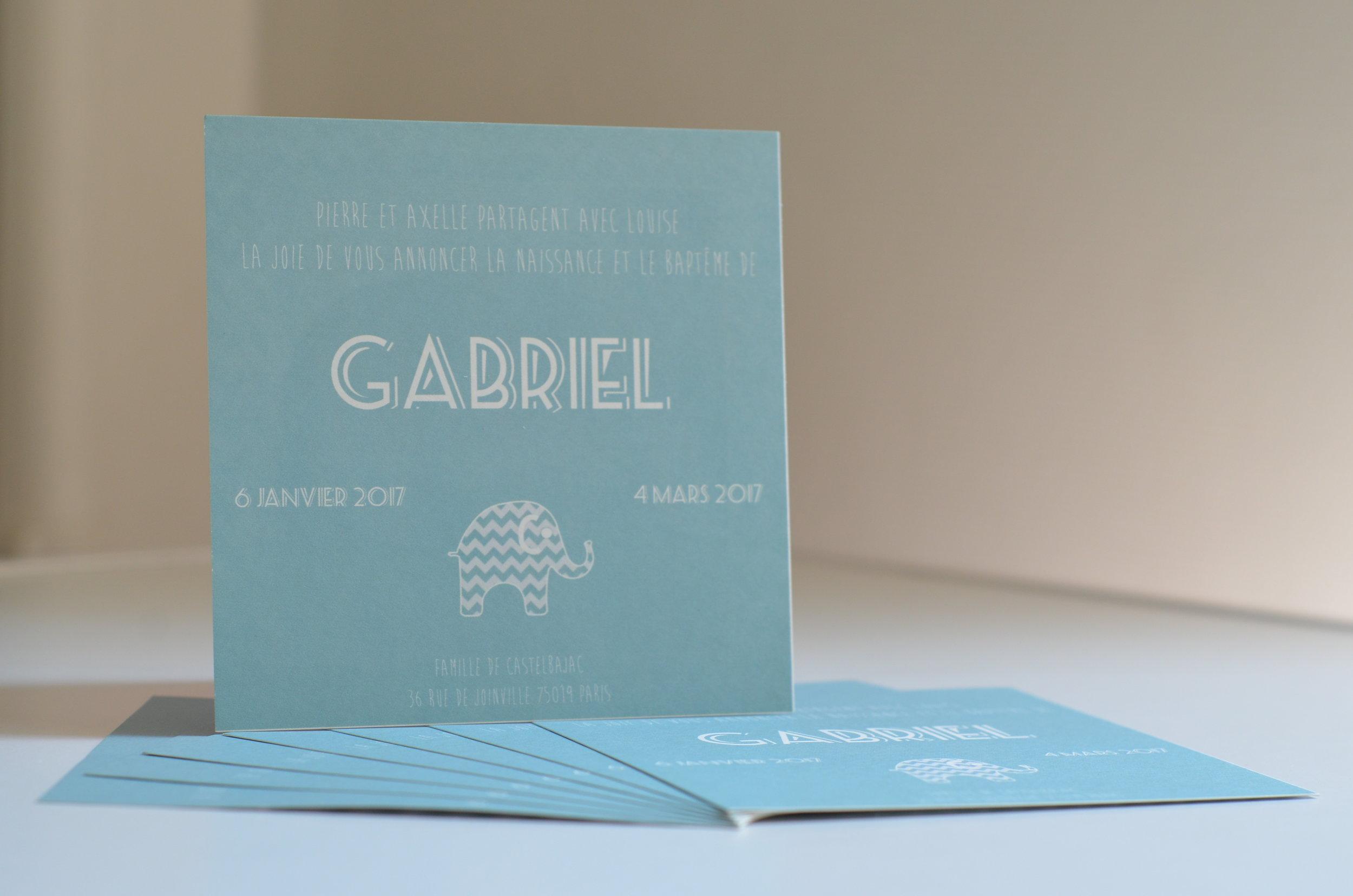 Faire part de naissance Gabriel