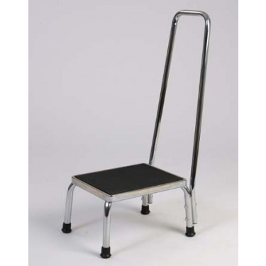 Step Stool With Handle - Duro-Med Foot Stool With Handle· Convenient step for getting to hard-to-reach places· Chrome-plated steel frame· Raised support handrail and foam grip· Non-slip textured matting on stool surface· Features reinforced slip-resistant rubber tips for added stability$45.00