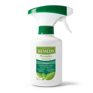 Medline Remedy® - · Medline Remedy® Phytoplex cleansing body lotion helps cleanse, moisturize, and nourish the skin in one application.· Leaves skin feeling fresh and silky.· No-rinse lotion formula cleanses and removes sticky barriers and pastes.· Convenient trigger sprayer for easier application.· Enhanced with Phytoplex and other botanicals· Formulated without parabens$10.00/ Bottle