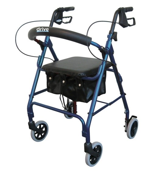 """Rollator - Lightweight Aluminum Rollator Walker by Drive Medical is highly versatile and adaptable for short and tall individuals. This Drive Lightweight Aluminum Rollator Walker has an adjustable seat height of 18 to 22 inches and an adjustable handle height of 29-1/2"""" to 38"""".Red or Blue  $220.00"""