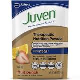 Juven Powder - · JUVEN is a targeted therapeutic nutrition drink mix that has been clinically shown to supporttissue building in 2 weeks,1 and to help build and maintain lean body mass (LBM) in 4 weeks.$3.25/ Packet Orange Flavor