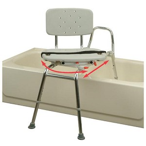 Sliding Transfer Bench - Swivel seat turns 360° and locks every 90° allowing easier entry to and exit from the bench.Seat glides over polished, high-strength aluminum tubes.Molded plastic seat and back, textured finish.Rust-proof aluminum construction.Adjustable height to fit user and bathtub clearance.$300.00