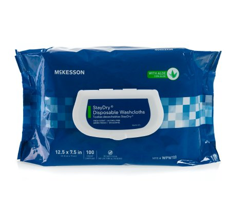 Wipes - StayDry® Disposable Washcloths with Aloe~Effective sanitary cleansing wipe featuring an alcohol-free and rinse-free formula~Strong, but gentle to the touch~Pre-moistened, soft, nonwoven fabric~2-ply, textured material with stretch and strength to avoid tearing~Dermatologist-tested, hyposensitive, gentle cleansing solution suitable for all-over body use on all adult skin types~Hypoallergenic, pleasantly fragranced aloe and vitamin E formula leaves skin soft and nourished after frequent cleansing~Aloe and vitamin E formula for an ideal cleansing solution to avoid common skin irritations such as diaper rash~Soft pack design with a snap lid for convenient everyday and on-the-go use with lasting freshness~Snap lid, designed to stay open and easily dispense wipes, allows one-handed application for convenience and minimized risks of cross-contamination~Not made with natural rubber latex.~100 Per Pack$10.00/ Package