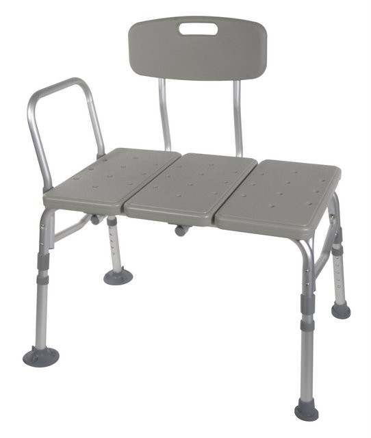 TRANSFER BENCH - This transfer bench by Drive Medical accommodates any bathroom because of its reversible bench and extension legs with extra large suction cups that lock provide added versatility and safety. The
