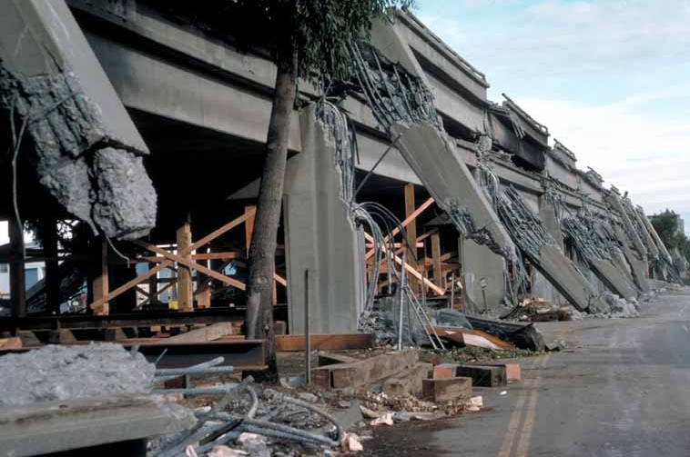 Collapsed Nimitz Freeway in West Oakland, Oct. 17, 1989