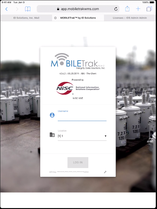 You will now see the current MOBILETrak Version, Your Organization's Name and your ERP Platform