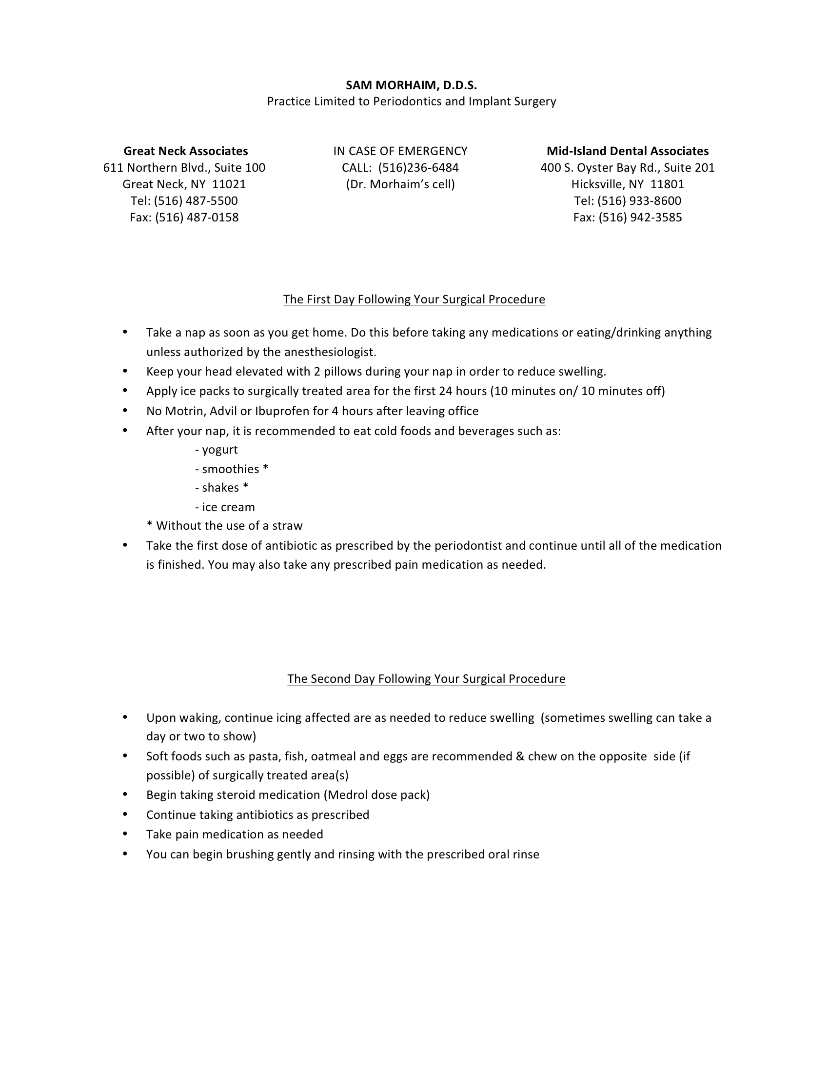 Procedures Requiring Sedation
