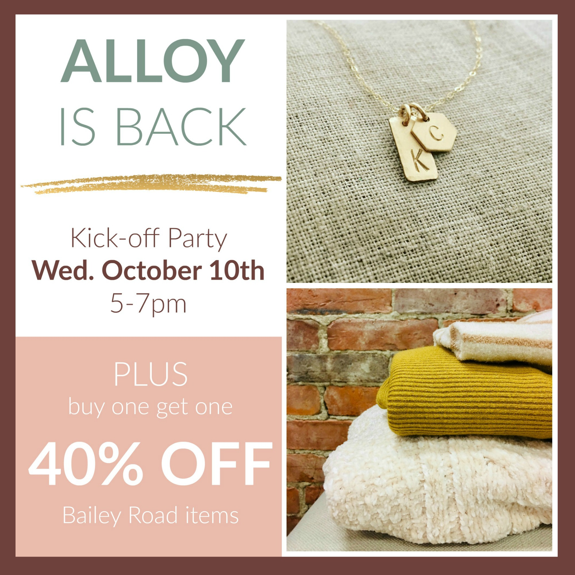 Alloy Jewelry is Back event at Bailey Road in Montpelier, Vermont on October 10th from 5-7pm