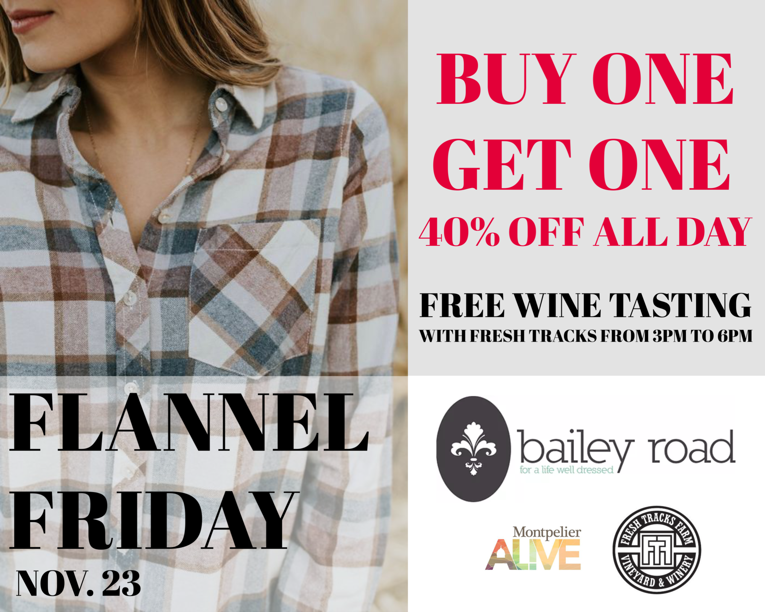 Flannel Friday at Bailey Road in downtown Montpelier, Vermont.  SALE.