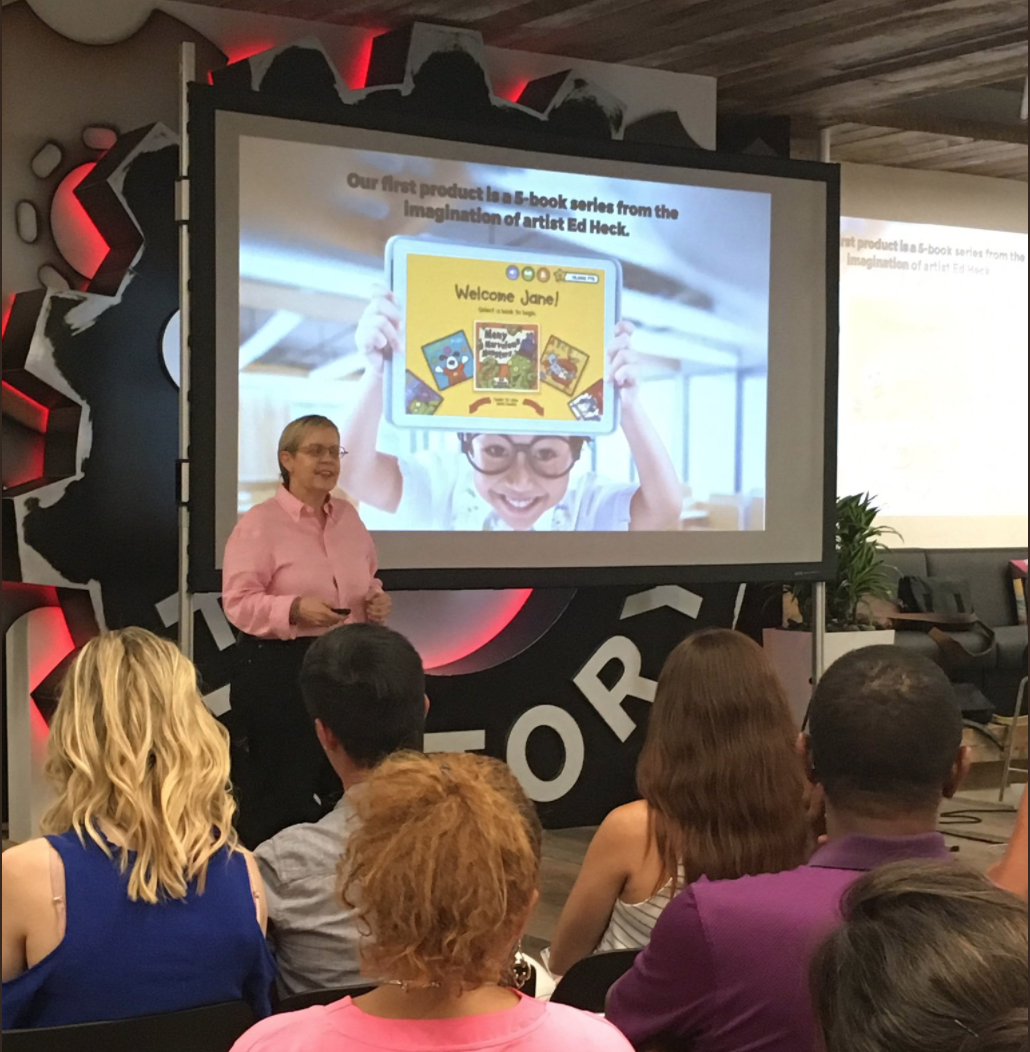 Founder Kate Peiler presenting at DivInc Demo Day in June 2017