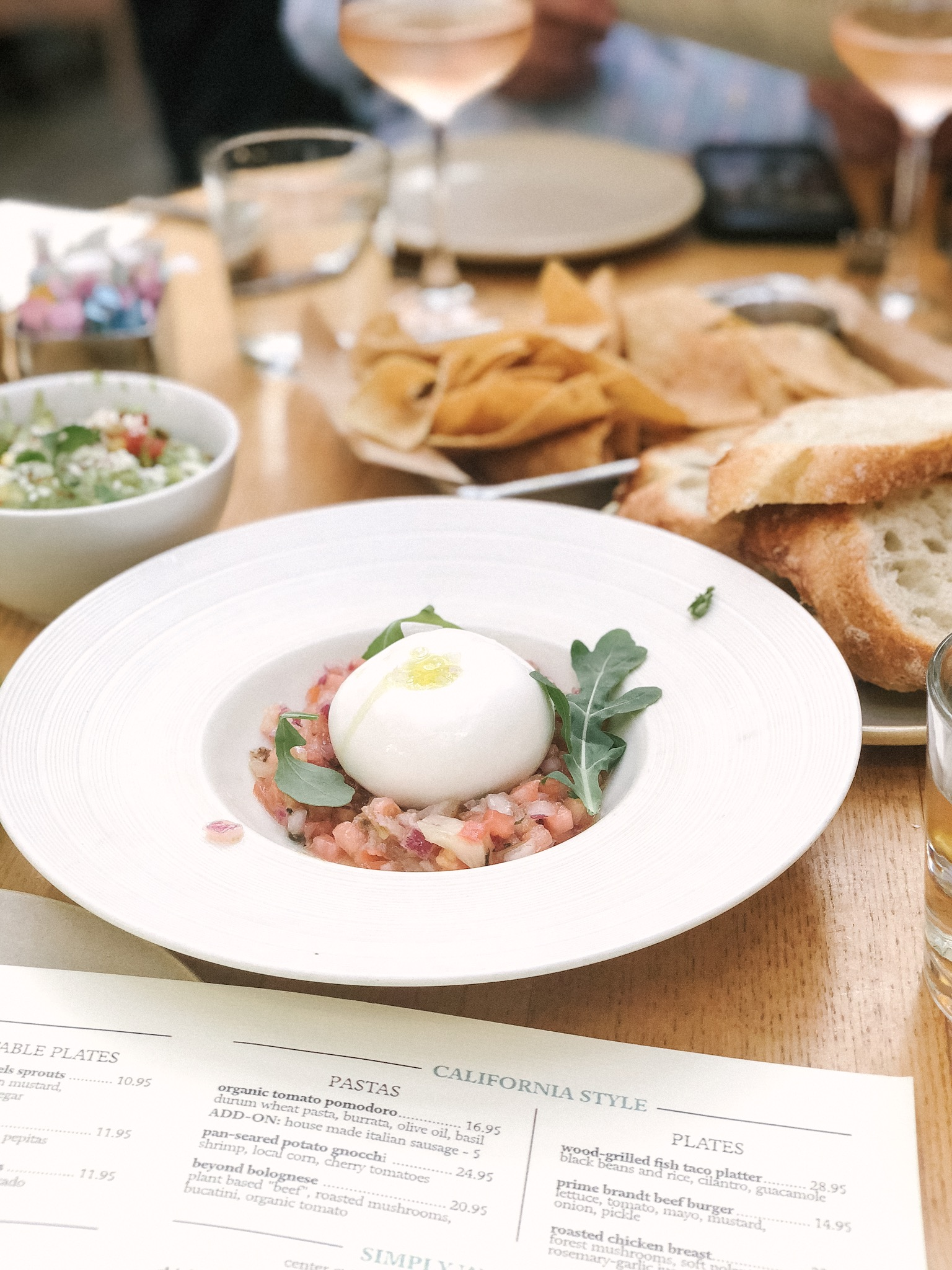 Summer House Santa Monica - burrata with warmed bread, Summer Water wine & guacamole & house-made chips