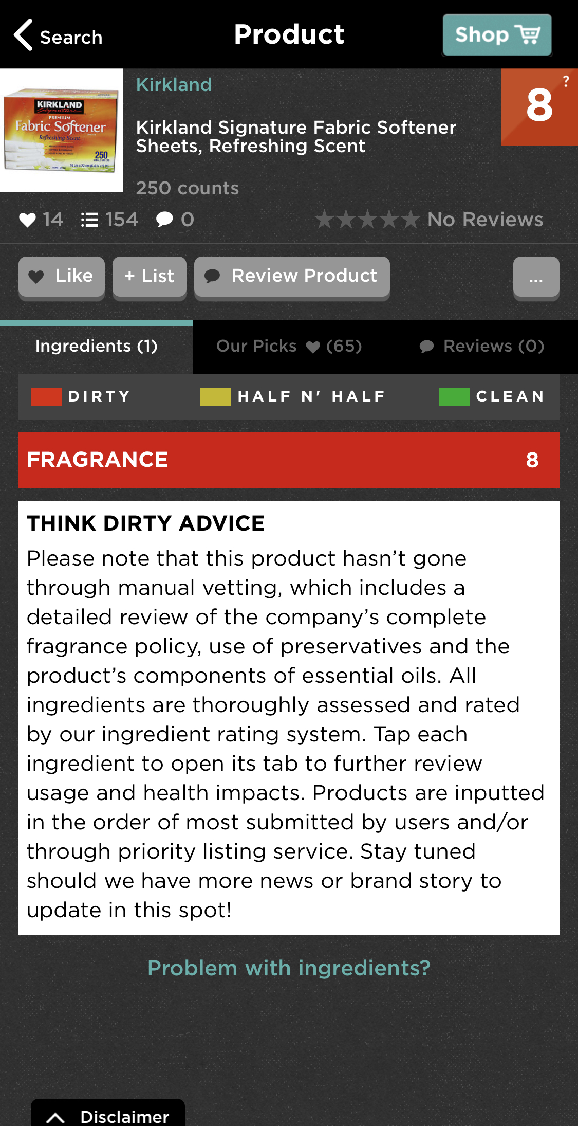 How toxic is it? - This screenshot shows the toxicity of conventional dryer sheets. App used: ThinkDirtyApp.